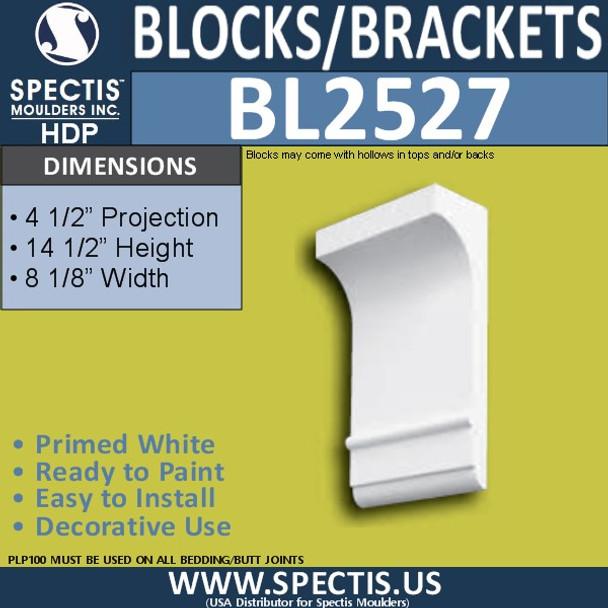 "BL2527 Eave Block or Bracket 8.12""W x 14.5""H x 4.5"" P"