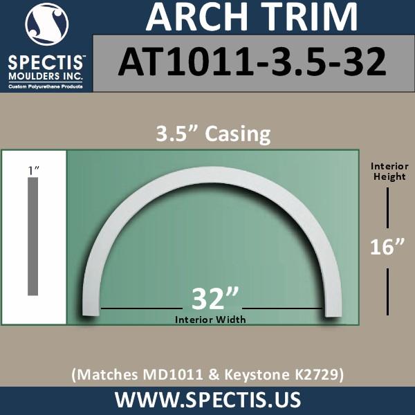 "AT1011-3.5-32 Flat Trim Urethane Door or Window Arch 32"" ID"