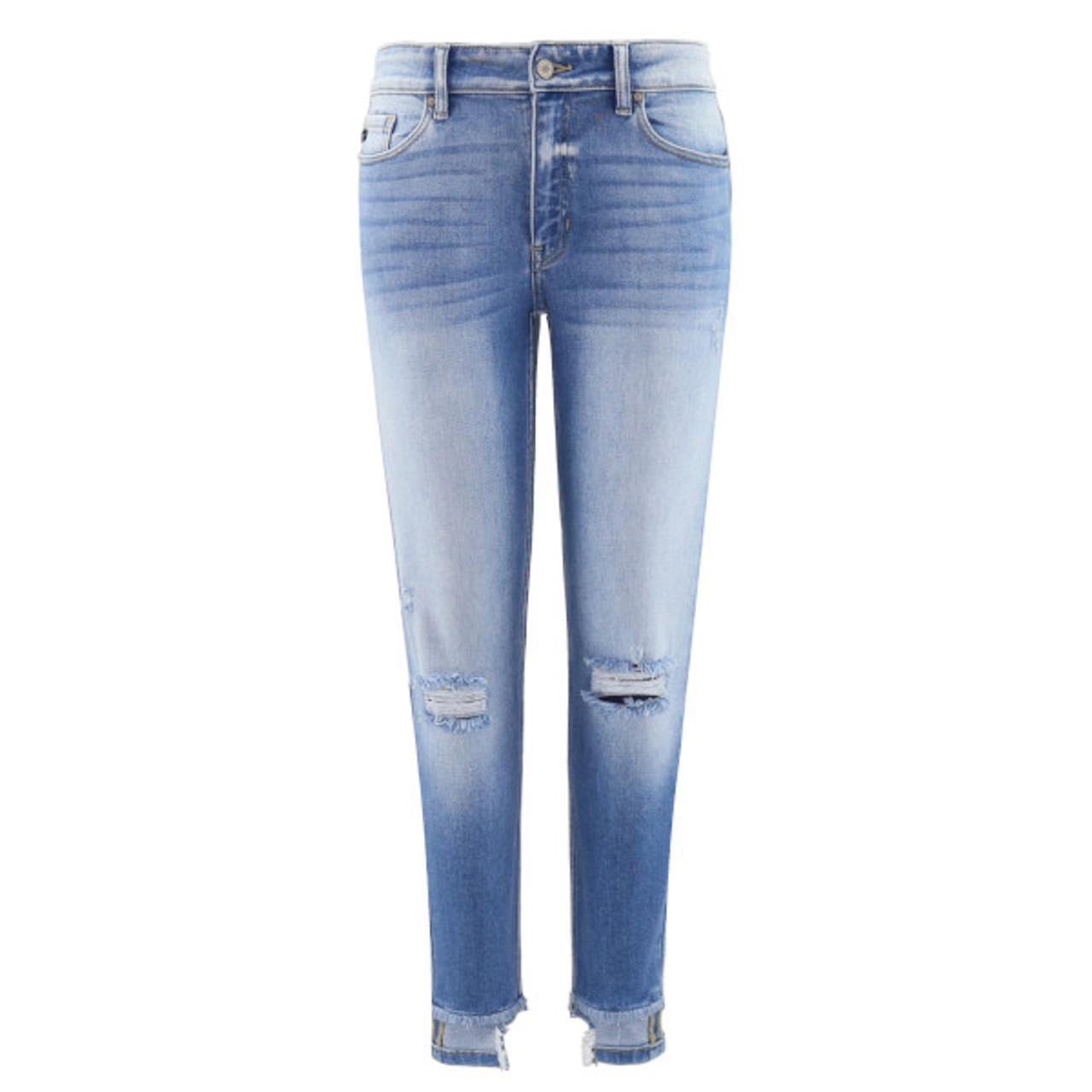 Ciara Mid Rise Reverse Hem Skinny Jeans Trendy Threads Jeans