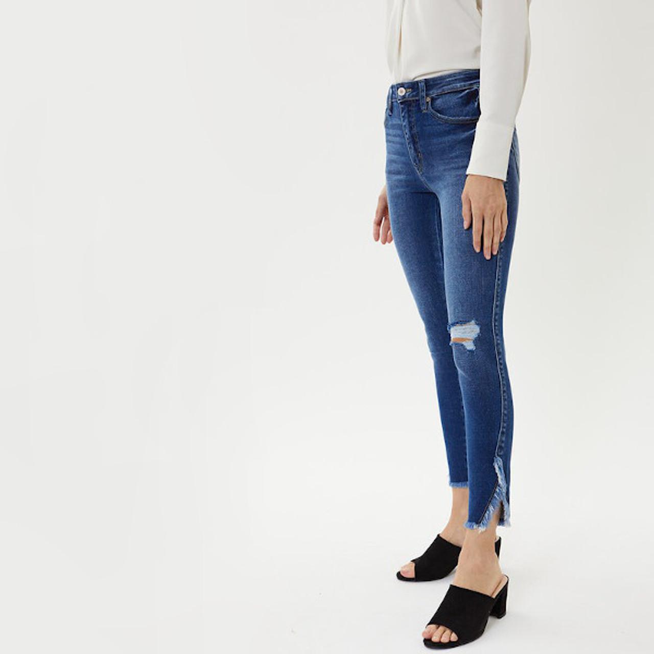 Sadie High Rise Frayed Hem Skinny Jeans By Kancan