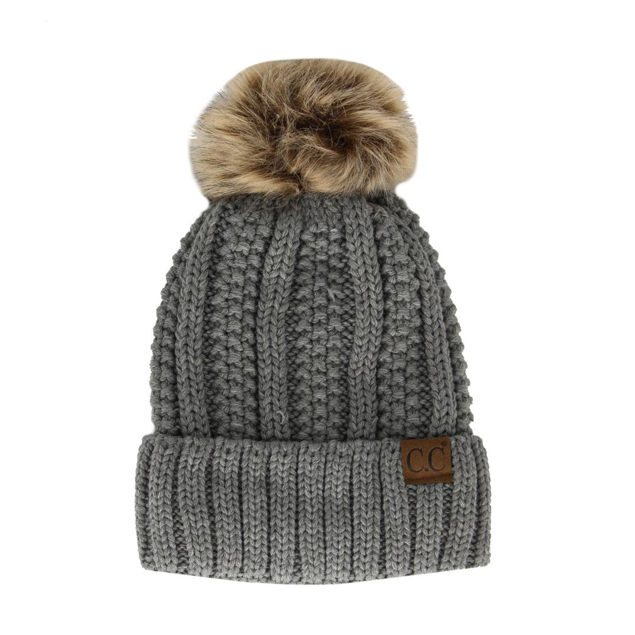 55fef73ea100e7 C.C Cable Knit Pom Pom Beanie - Grey - Trendy Threads Inc