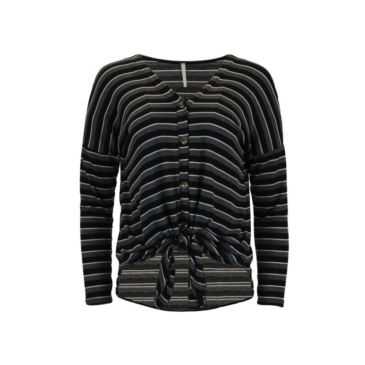 2d00d962d2a Thermal Striped V-Neck Top - Black