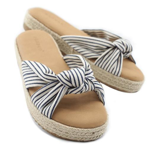 Summer Flat Sandals | Beachgoer Navy Striped Sandal