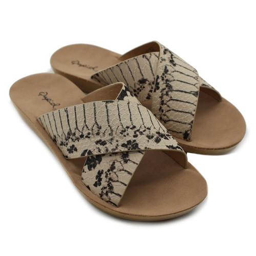 Summer Sandal | Macy Snakeskin Sandal - Beige