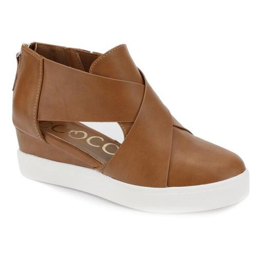 Melody Open Side Wedge Sneaker - Tan