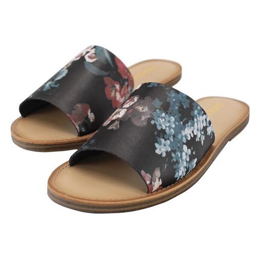 Spring Floral Sandal - Sansa  | Color Black