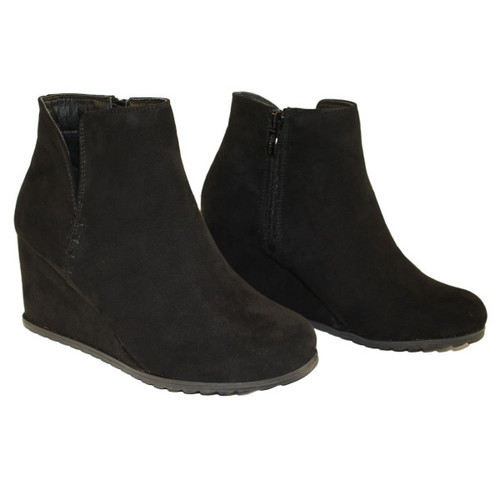 Gina Black Faux Suede Wedge Bootie