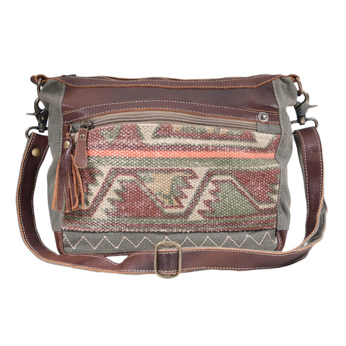 Luguni Shoulder Bag. Aztec printed fabric front, canvas back, and dark chocolate genuine leather accents throughout.