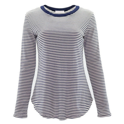 Striped print in white and navy blue in a lightweight, soft material.   Details include a rounded neckline, full length sleeves and solid navy blue elbow patches.