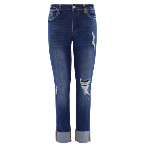 Mid rise dark wash denim features a minimal distressed style with a faded whisker wash and a cuffed hem.  Five pocket styling with a button and zip closure.