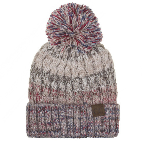 This C.C Exclusive striped cable knit beanie is constructed in a thick cable knit design with multi colored stripped pattern.