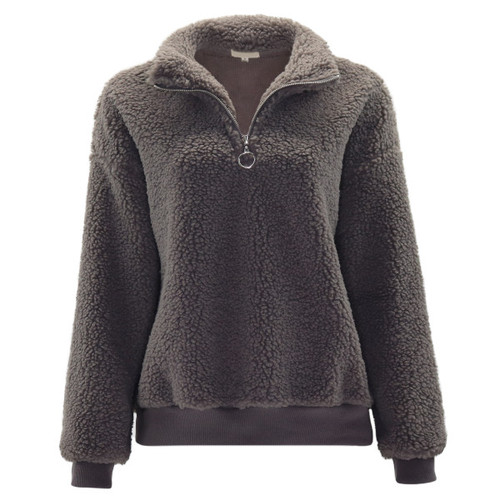 Solid dark grey color in a soft medium weight chunky fleece material.