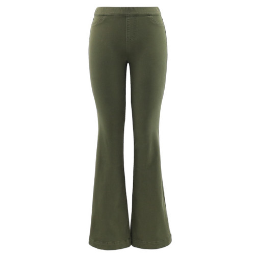 Front faux pockets, elastic waistband, functional back pockets and a dark military green shade.