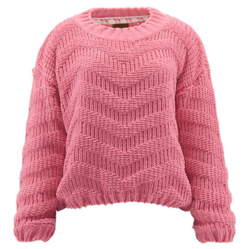 Ultra cozy sweater solid bubblegum pink shade in an ultra soft, chenille open knit material.