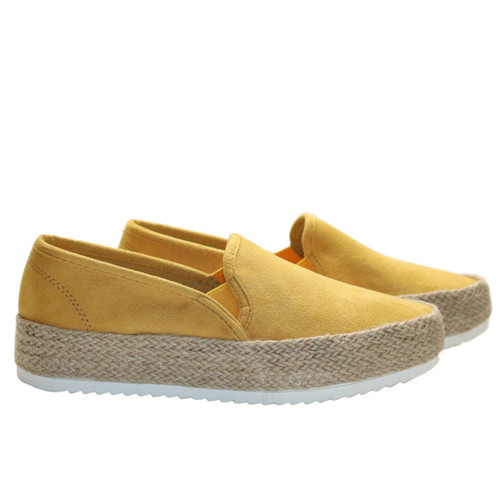 Features a lightweight faux suede upper in a solid mustard color.