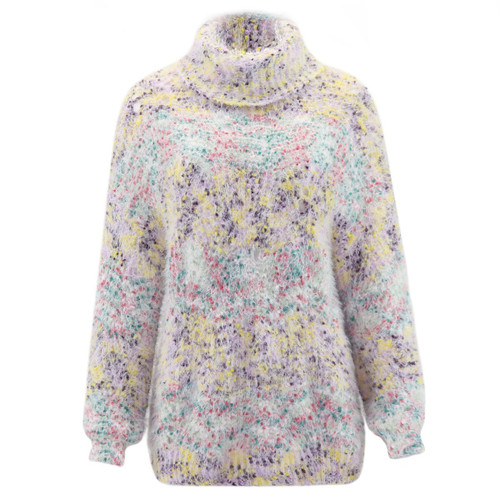 Ultra soft sweater, colors include pink, green, yellow, and purple confetti style pattern.