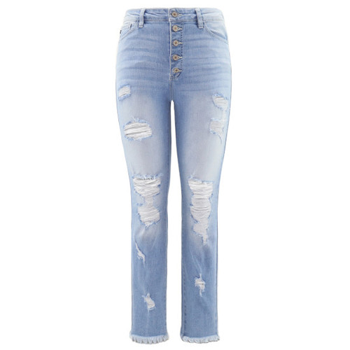 High rise skinny jean features an all over light wash with a slightly faded wash on the thighs and a faint whisker wash pattern throughout.