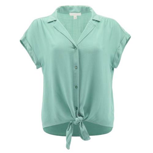 Front tie top in solid mint color with a true button down front design and tie front hem.