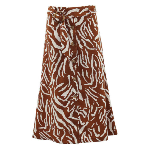 Button-Front Zebra Print Midi Skirt