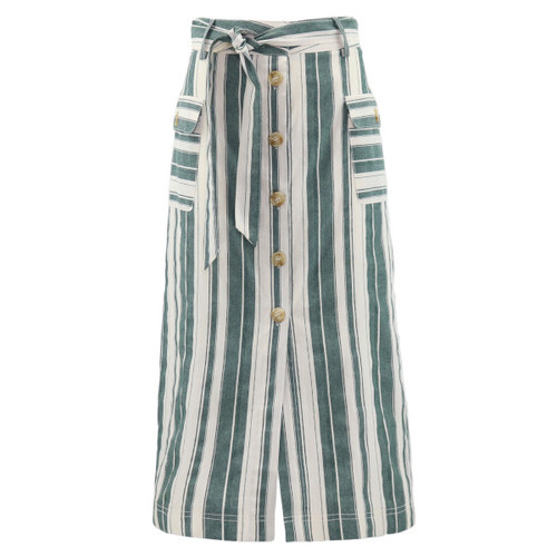Vertical Striped Linen Blend Button Down Skirt.