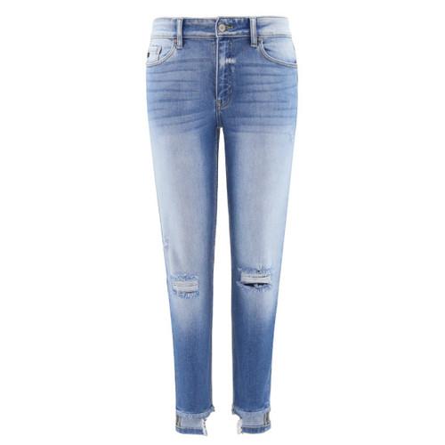 Mid Rise Reverse Hem Skinny Jeans