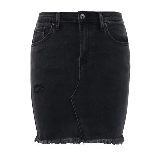 High Rise Raw Hem Skirt - Trendy Threads Boutique
