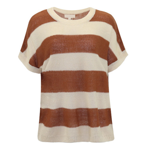 Striped Summer Sweater - Color Brown