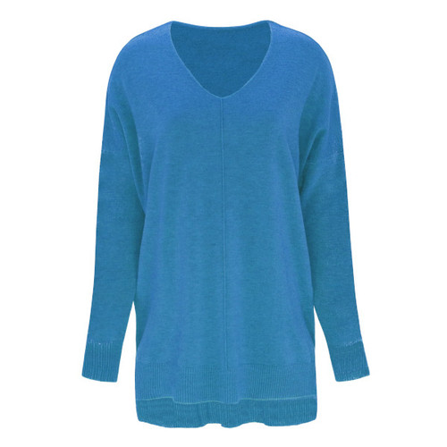 V-Neck Sweater - Color Turquoise