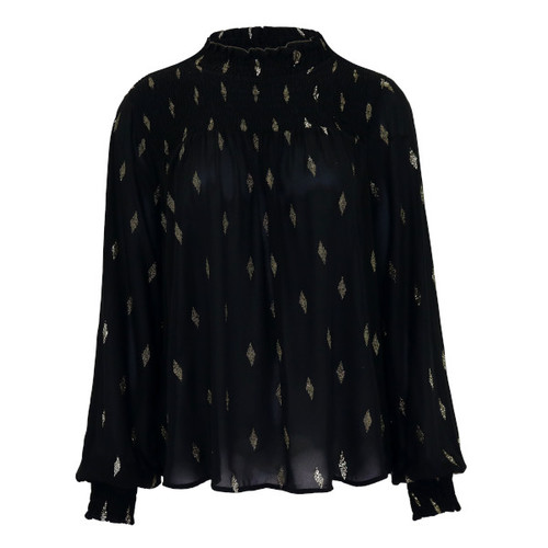 Trendy Mock Neck Blouse - Color Black