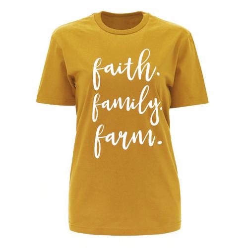 Faith Family Farm Graphic Tee Color  Mustard