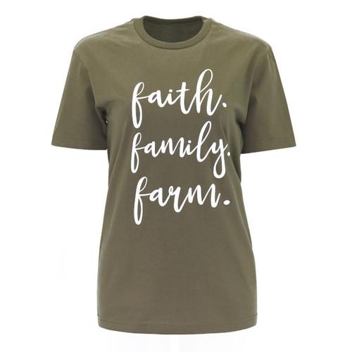 Faith Family Farm Graphic Tee  Color Green