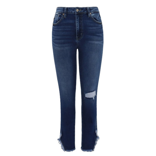 High Rise Frayed Hem Skinny Jeans
