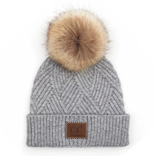 C.C Diagonal Knit Pom Pom Beanie - Light Grey