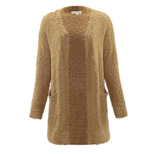 Popcorn Texture Knit Pocket Cardigan - Light Camel