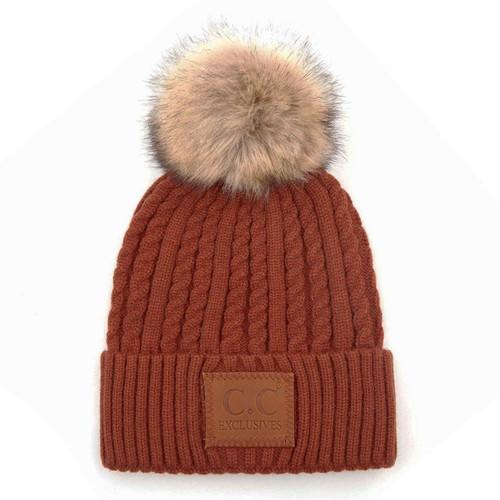 C.C Double Braided Knit Beanie - Rust