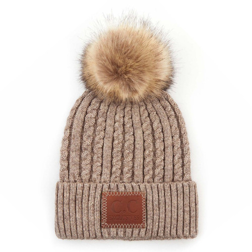 C.C Double Braided Knit Beanie - Taupe