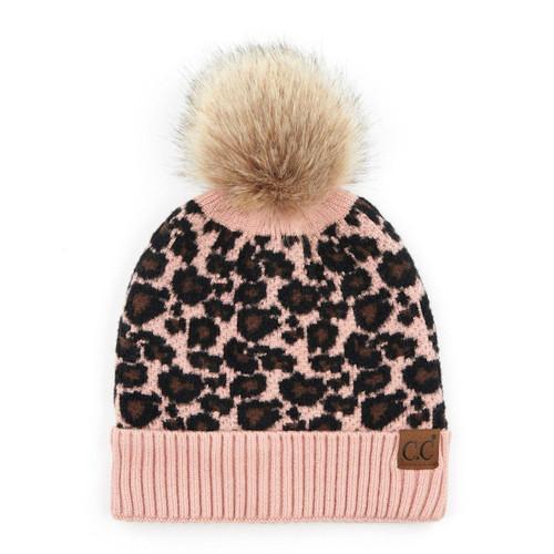 C.C Leopard Print Pom Pom Beanie - Pink