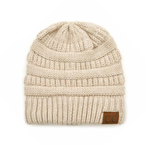 C.C Snuggly Soft Yarn Beanie - Beige Mix