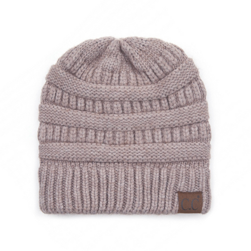 C.C Snuggly Soft Yarn Beanie - Taupe Mix