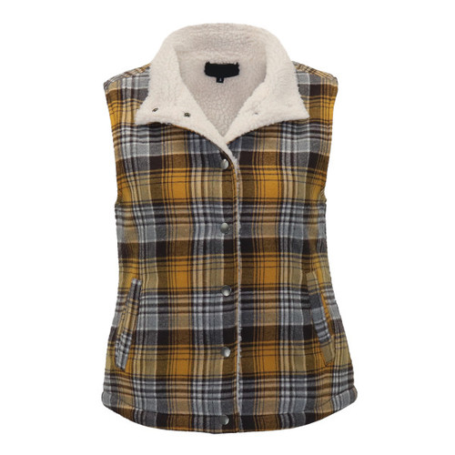 Mustard Plaid Sherpa Lined Vest