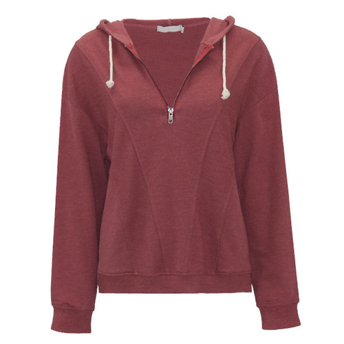 Lost In Time Half-Zip Sweatshirt - Burgundy