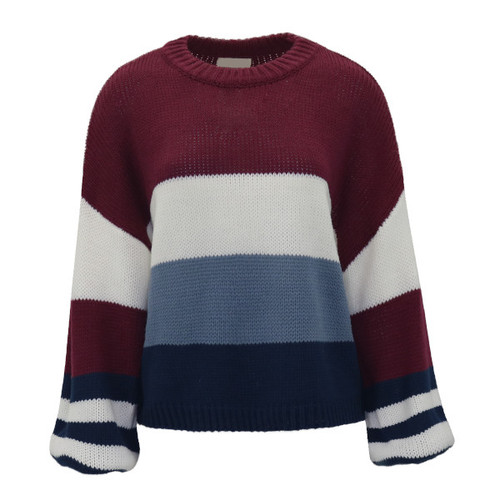 Capture The Moment Color Block Sweater - Wine