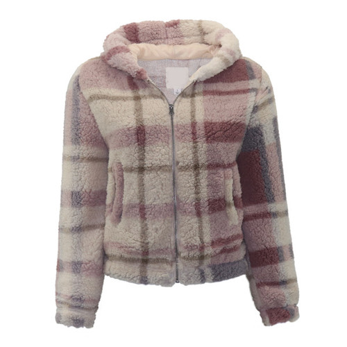 Plaid Sherpa Zip Front Jacket