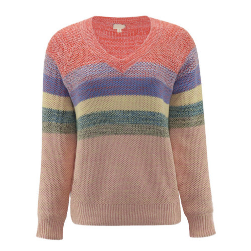 Beauty Of Spring Coral Striped Sweater