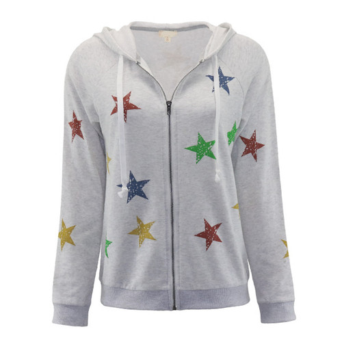 Seeing Stars Zip Up Hooded Sweatshirt