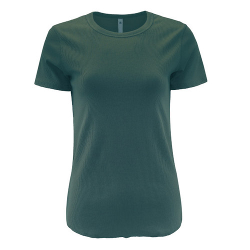 Ribbed Knit Luxury Tee - Green