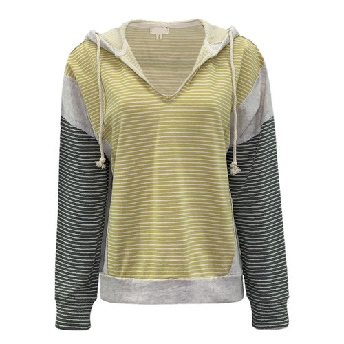 Feel The Fame Striped Hoodie - Yellow/Olive