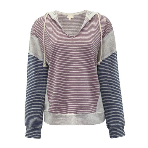 Feel The Fame Striped Hoodie - Mauve/Blue