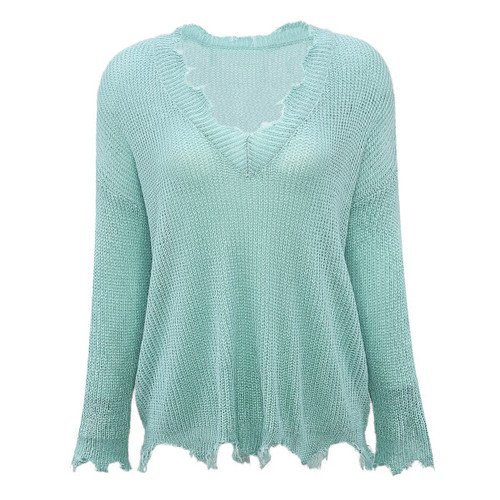 A Just Cause V-Neck Sweater - Mint