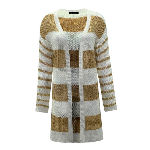 Feel The Vibes Striped Cardigan - Yellow